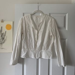 Doen White L/S Embroidered Cotton Blouse Large